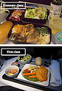 Airline Food: Economy Vs. First Class <br /> <br /> What used to be a woman's size 12 in 1968 is a woman's size 4 today; what used to be third-class is economy-class today. What changed? We've grown more sensitive: I'm not overweight, I still fit into a size 12. I'm not a third-class passenger, I'm a price conscious individual that rides in economy-class.<br /> Despite the name games, airline food hasn't changed much. Economy class meals still come in a wrapper, and business or first-class meals come with real cutlery. This list shows the sometimes striking difference between what the different classes eat.<br /> <br /> Photo shows: United Airlines<br /> ©Exclusivepix Media