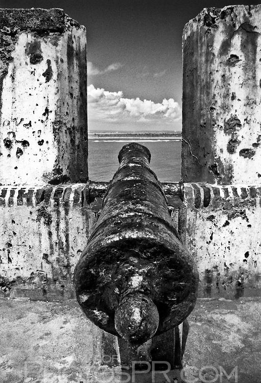Old cannon aimed towards entrance of San Juan bay