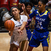 24 February 2018: The San Diego State women's basketball team closes out it's home schedule of the regular season Saturday afternoon against San Jose State. San Diego State Aztecs forward Baylee Vanderdoes (34) passes the ball along the baseline while being defended by San Jose State Spartans center Alexis Harris (24) in the first half. At halftime the Aztecs lead the Spartans 36-33 at Viejas Arena.<br /> More game action at sdsuaztecphotos.com