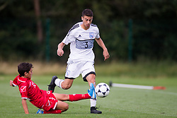 WREXHAM, WALES - Thursday, August 15, 2019: Cyprus' Charalampos Antoniou and Malta's Matthias Said during the UEFA Under-15's Development Tournament match between Cyprus and Malta at Colliers Park. (Pic by Paul Greenwood/Propaganda)