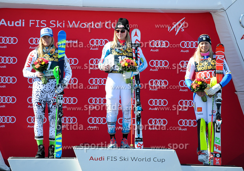 19.03.2016, Engiadina, St. Moritz, SUI, FIS Weltcup Ski Alpin, St. Moritz, Slalom, Damen, im Bild Veronika Zuzulova (Slovakei)Mikaela Shiffrin (USA)Frida Hansdotter (SWE) Siegerin SL WC // Veranika Zuzulova of SlovakeiMikaela Shiffrin of USAFrieda Hansdotter of Sweden Winner of the Slalom WC during ladie's Slalom of st. Moritz Ski Alpine World Cup finals at the Engiadina in St. Moritz, Switzerland on 2016/03/19. EXPA Pictures © 2016, PhotoCredit: EXPA/ Erich Spiess
