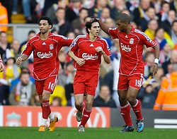 LIVERPOOL, ENGLAND - Saturday, January 26, 2008: Liverpool's Yossi Benayoun celebrates scoring the second equalisers against Havant and Waterlooville during the FA Cup 4th Round match at Anfield. (Photo by David Rawcliffe/Propaganda)