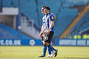 Joel Pelupessy of Sheffield Wednesday and Fernando Forestieri of Sheffield Wednesday after the EFL Sky Bet Championship match between Sheffield Wednesday and Bristol City at Hillsborough, Sheffield, England on 22 April 2019.