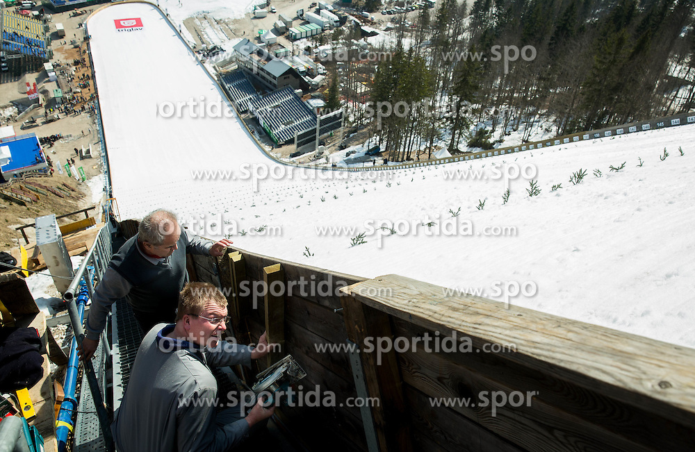 Workers during first test of renovated Ski jumping Flying Hill 1 day before FIS World Cup Ski Jumping Final, on March 18, 2015 in Planica, Slovenia. Photo by Vid Ponikvar / Sportida
