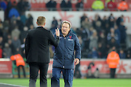 Crystal Palace Manager Neil Warnock prepares to shake the hand of Swansea City Managerr Gary Monk at full time.<br /> Barclays Premier league match, Swansea city v Crystal Palace at the Liberty stadium in Swansea, South Wales on Saturday 29th November 2014<br /> pic by Phil Rees, Andrew Orchard sports photography.