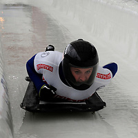 27 February 2007:  Marion Trott of Germany slides to a 5th place finish in the 4th run at the Women's Skeleton World Championships competition on February 27 at the Olympic Sports Complex in Lake Placid, NY.