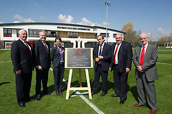 NEWPORT, WALES - Saturday, April 20, 2013: Former FAW President Phil Pritchard, First Minister Carwyn Jones, UEFA President Michel Platini, FAW President Trefor Lloyd-Hughes, Wales National team manager Chris Coleman and Bob Bright leader of Newport Council at the opening of the FAW National Development Centre in Newport. (Pic by David Rawcliffe/Propaganda)