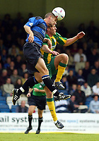 Photograph:Scott Heavey.<br />Gillingham v West Bromwich Albion. Nationwide Duvision one. 04/10/2003.<br />Chris Hope clears the ball from Rob Hulse