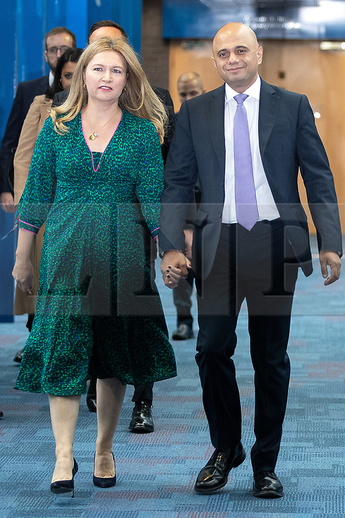 © Licensed to London News Pictures . 02/10/2018. Birmingham, UK. LAURA JAVID and her husband SAJID JAVID at the conference on day 3 of the Conservative Party conference at the ICC in Birmingham . Photo credit: Joel Goodman/LNP
