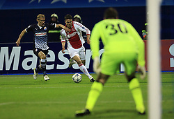 18.10.2011, Stadion Maksimir, Zagreb, CRO, UEFA CL, Gruppe D, Dinamo Zagreb (CRO) vs Ajax Amsterdam (NED), im Bild  Domagoj Vida, Derk Boerrigter, Ivan Kelava // during UEFA Champions League group D match between Dinamo Zagreb (CRO) and Ajax Amsterdam (NED)) at Maksimir Stadium, Zagreb, Croatia on 18/10/2011. EXPA Pictures © 2011, PhotoCredit: EXPA/ nph/ PIXSELL  **** only for AUT       ****** out of GER / CRO  / BEL ******