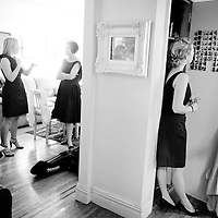 Erin's bridesmaids are photographed as they wait for her Brooklyn wedding to begin.