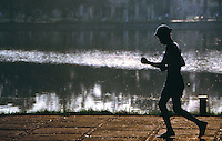 Hanoi-man exercising near Lake Ho Kiem