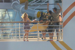 EXCLUSIVE: Kristin Bell and Kelsey Grammer on the film set of Like Father on a Royal Caribbean ship off the Florida coast. 17 Sep 2017 Pictured: Kristin Bell on film set of Like Father on Royal Caribbean's Harmony of the Seas on Sunday Sept 17, 2017. Photo credit: MEGA TheMegaAgency.com +1 888 505 6342