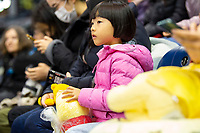 KELOWNA, BC - OCTOBER 25:  A young Japanese fan watches the men's short program at Skate Canada International held at Prospera Place on October 25, 2019 in Kelowna, Canada. (Photo by Marissa Baecker/Shoot the Breeze)