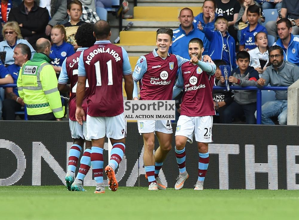 Carles Gil celebrates after putting Villa 2-0 up (c) Simon Kimber | SportPix.org.uk