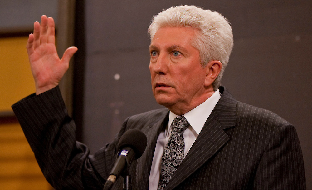 Bloc Quebecois leader Gilles Duceppe speaks at a press conference following the english language debate in Ottawa, Ontario April 12, 2011.<br /> AFP/GEOFF ROBINS/STR
