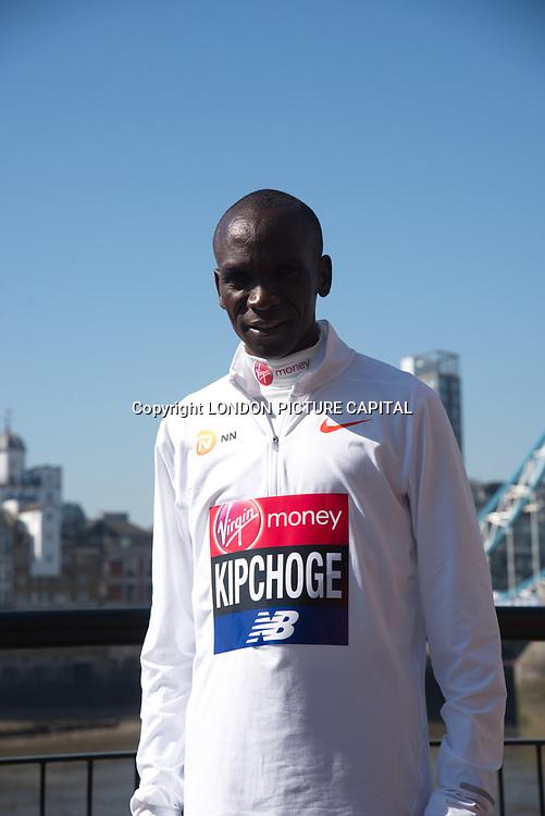Eliud Kipchoge - Elite men photocall - Virgin Money London Marathon at Tower Hill on 19 April 2018, London, UK.