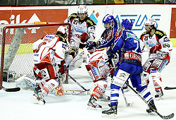 "15.03.2012, Dom Sportova, Zagreb, CRO, EBEL, KHL Medvescak Zagreb vs EC KAC, Playoff, Halbfinale, 5. Spiel, im Bild John Lammers, (EC KAC, #20), Big Save by Andy Chiodo, (EC KAC, #31), Thomas Hundertpfund, (EC KAC, #27), Raphael Herburger, (EC KAC, #89), Andy Sertich, (KHL Medvescak Zagreb, #15), Adam Naglich, (KHL Medvescak Zagreb, #7) Martin Schumig, (EC KAC, #28), // during the semifinal Match of ""Erste Bank Icehockey League"", fith encounter between KHL Medvescak Zagreb and EC KAC at Dom Sportova, Zagreb, Croatia on 2012/03/15. EXPA Pictures © 2012, PhotoCredit: EXPA/ Pixsell/ Goran Stanzl ATTENTION - OUT OF CRO, SRB, MAZ, BIH and POL *****"