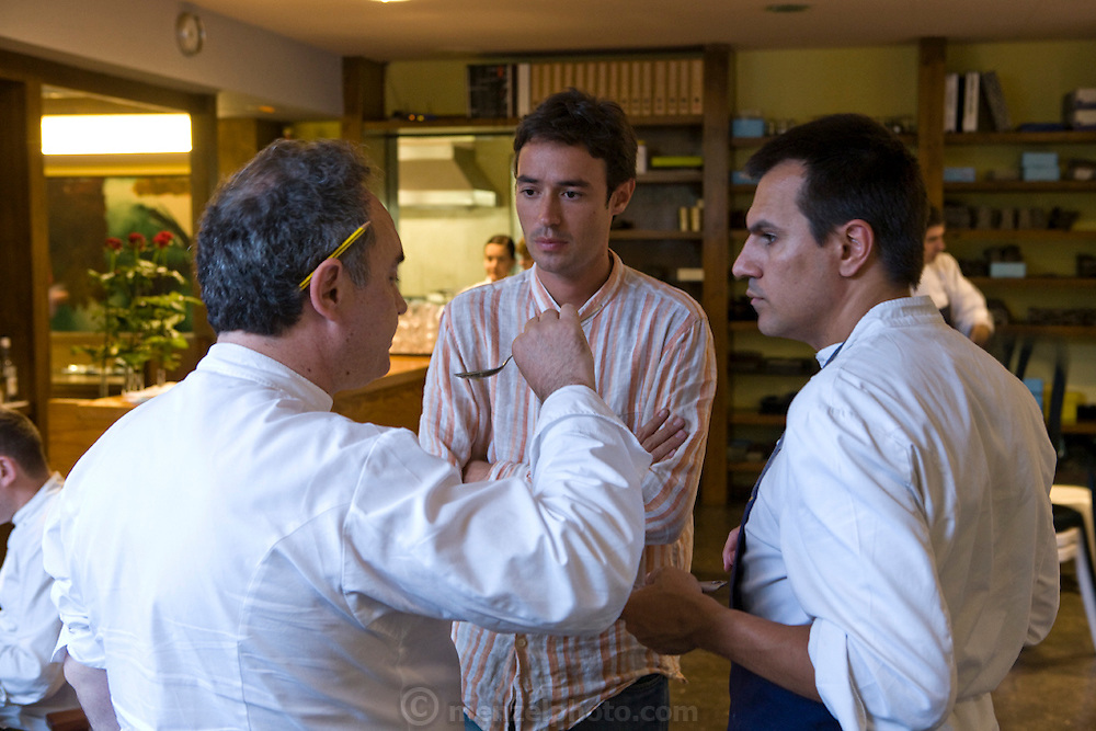 Ferran Adrià, a chef at the famous El Bulli restaurant near Rosas on the Costa Brava in Northern Spain, speaks to staff and taste tests food in the restaurant's kitchen. (Ferran Adrià is featured in the book What I Eat: Around the World in 80 Diets.)