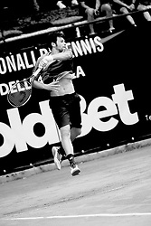 June 22, 2018 - L'Aquila, Italy - (EDITORS NOTE: Image has been converted to black and.white.) Gianluigi Quinzi during match between Guilherme Clezar (BRA) and Gianluigi Quinzi (ITA) during day 7 at the Internazionali di Tennis Citt dell'Aquila (ATP Challenger L'Aquila) in L'Aquila, Italy, on June 22, 2018. (Credit Image: © Manuel Romano/NurPhoto via ZUMA Press)