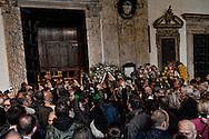 Roma 5 Novembre 2012.Il  funerale di Pino Rauti.Gianfranco Fini, Presidente della Camera dei Deputati contestato mentre entra in chiesa