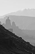 The Fisher Towers as seen from the Colorado River Valley near Moab, UT