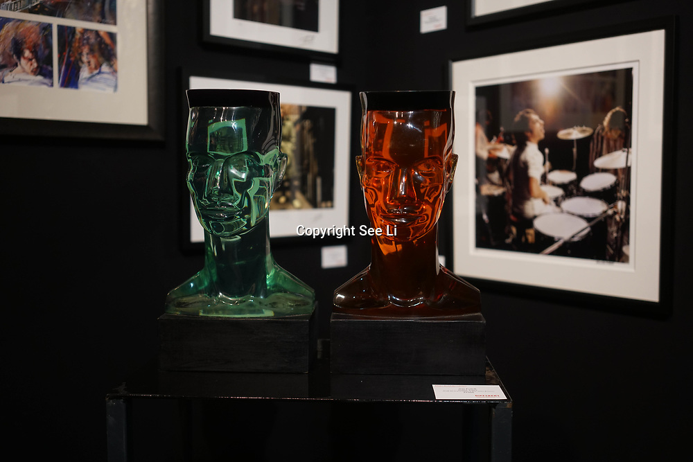 Chelsea Old Town Hall.London,England,UK. 26th April 2017. Grace Jones by Artist Guy Portelli exhibition  at Chelsea Art Fair - press & photocall of King's Road Revolution Where Art meets Music at Chelsea Old Town Hall. by See Li