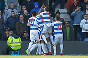 GOAL 1-0 Queens Park Rangers defender Darnell Furlong (2) scores and celebrates during the EFL Sky Bet Championship match between Queens Park Rangers and Swansea City at the Loftus Road Stadium, London, England on 13 April 2019.
