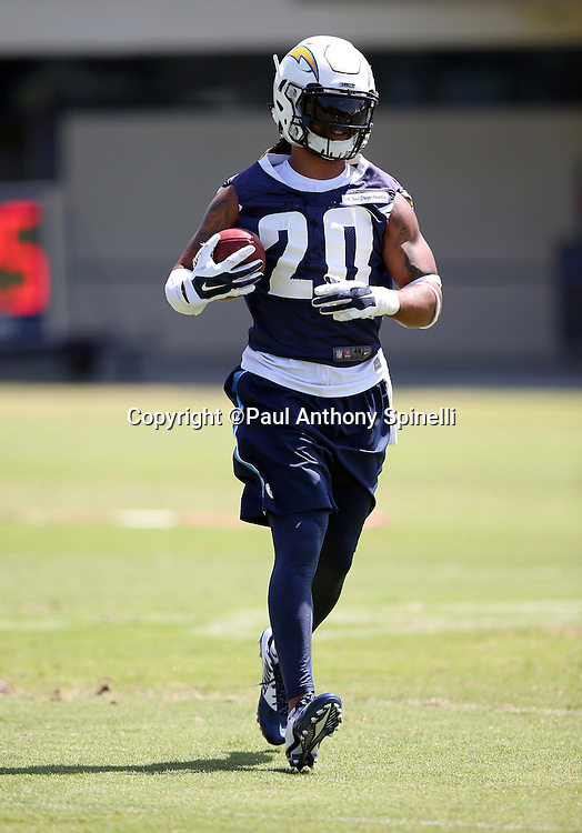 San Diego Chargers safety Dwight Lowery (20) runs with the ball after catching a pass during the Chargers 2016 NFL minicamp football practice held on Tuesday, June 15, 2016 in San Diego. (©Paul Anthony Spinelli)
