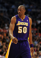 Oct. 29 2010; Phoenix, AZ, USA; Los Angeles Lakers center Theo Ratliff (50) reacts on the court against the Phoenix Suns during the first half at the US Airways Center. The Lakers defeated the Suns 114-106.  Mandatory Credit: Jennifer Stewart-US PRESSWIRE.