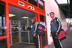 LIVERPOOL, ENGLAND - Monday, September 11, 1995: Liverpool's captain John Barnes and goalkeeper David James give the thumbs up at Liverpool Airport before travelling to Russia ahead of the UEFA Cup 1st Round 1st Leg match against FC Alania Spartak Vladikavkaz. (Photo by David Rawcliffe/Propaganda)