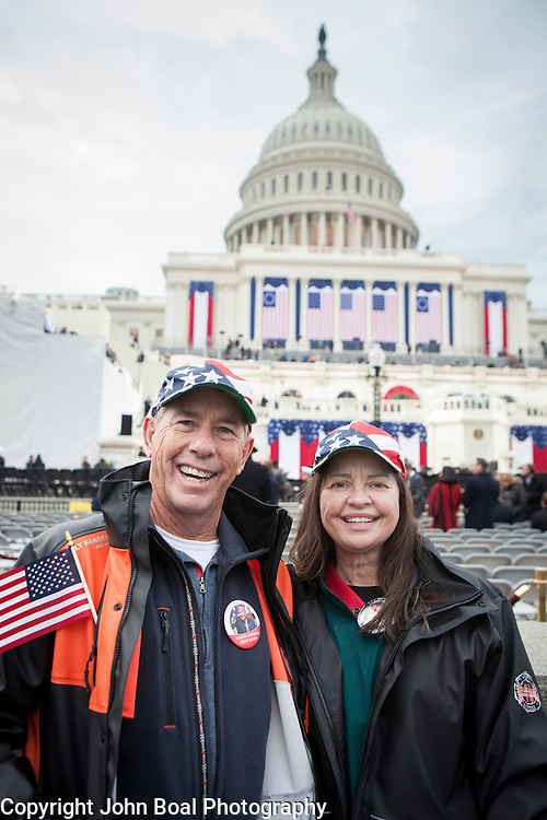 """Jeff and Gail Torrence traveled from Atlanta, GA, to attend the the Inauguration of Donald Trump as the 45th President of the United States, January 20, 2017.  When asked about their hopes for the new Trump administration, they replied that they hoped Trump would, """"...bring jobs, balance the budget and run [the government] like a business..."""".  They also expressed optimism that he """"...doesn't have to answer to anyone..."""" based on his ability to mostly self-fund the campaign.  John Boal Photography"""