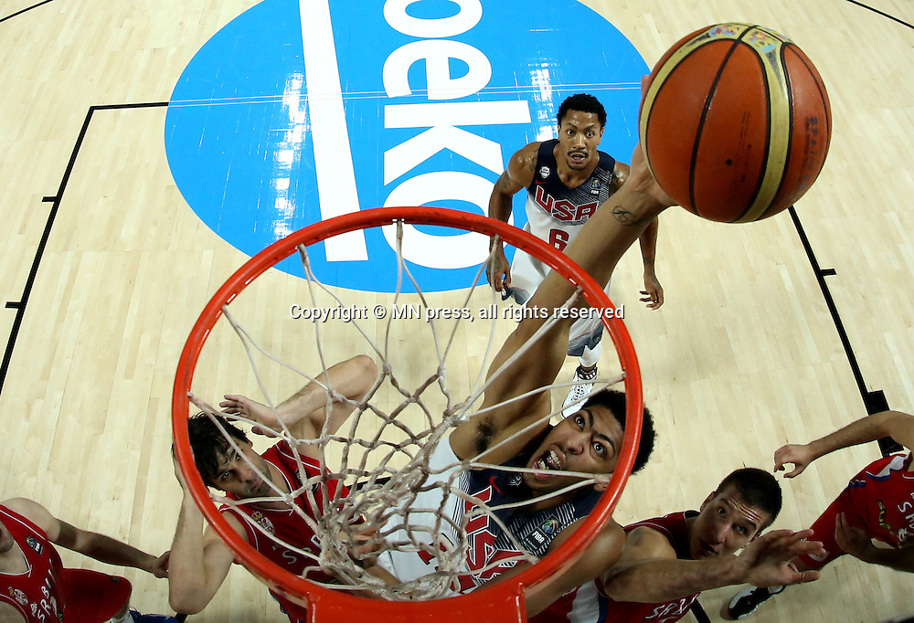 ANTHONY DAVIS of United states of America basketball team in action during Final FIBA World cup match against Serbia, Madrid, Spain Photo: MN PRESS PHOTO<br /> Basketball, Serbia, United states of America, Final, FIBA World cup Spain 2014