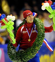 28-12-2010 SCHAATSEN: KPN NK ALLROUND EN SPRINT: HEERENVEEN<br /> Margot Boer (Liga) wordt Nederlands kampioen sprint<br /> ©2010-WWW.FOTOHOOGENDOORN.NL