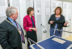 Pictured: Scottish Government Public Libraries Funding Announcement. Culture Minister Fiona Hyslop announces this year's successful bids to the £450,000 Public Library Improvement Fund (PLIF) at the John Grey Centre, Haddington Library, Haddington, East Lothian, Scotland, United Kingdom.  PLIF has been supporting innovative library projects since 2006 which help both individuals and communities. Fiona Hyslop visits the archives of East Lothian to see a letter from Mary Queen of Scots. Pictured: John McMillan, Provost of East Lothian, Depute Chief Executive of East Lothian Council,  Monica Patterson and Fiona Hyslop. 13 December 2018  <br /> <br /> Sally Anderson | EdinburghElitemedia.co.uk