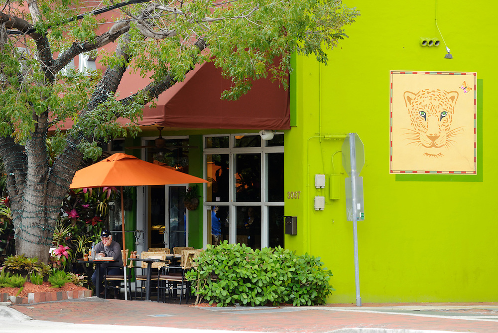 USA,Florida,Dade County,Miami, Coconut Grove, painted wall and restaurant