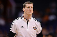 Oct 16, 2014; Phoenix, AZ, USA; Phoenix Suns guard Goran Dragic (1) warms up prior to the game against the San Antonio Spurs at US Airways Center. Mandatory Credit: Jennifer Stewart-USA TODAY Sports
