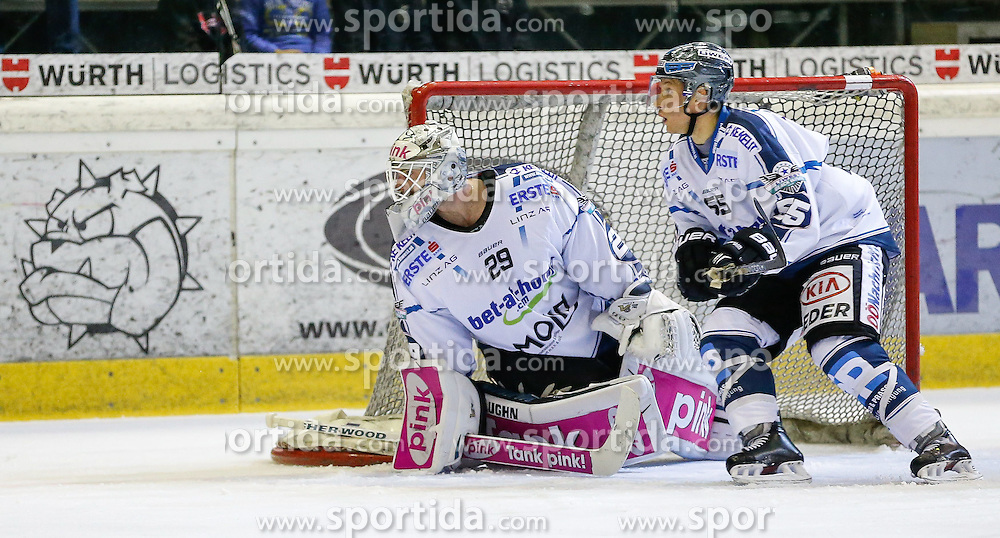28.09.2014, Messestadion, Dornbirn, AUT, EBEL, Dornbirner EC vs EHC Liwest Black Wings Linz, 6.Runde, im Bild Michael Ouzas, (EHC Liwest Black Wings Linz, #29) und Robert Lukas, (EHC Liwest Black Wings Linz, #55)// during the Erste Bank Icehockey League 6th round match between Dornbirner EC and EHC Liwest Black Wings Linz at the Messestadion in Dornbirn, Austria on 2014/09/28, EXPA Pictures © 2014, PhotoCredit: EXPA/ Peter Rinderer