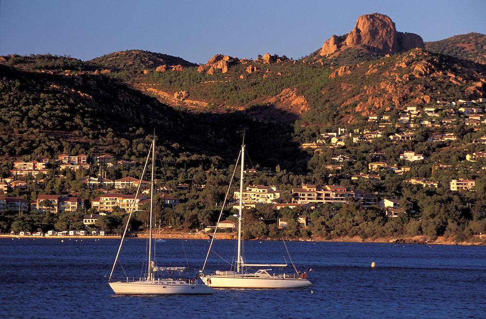 Sailboats at Agay, Provence Alpes Cote d'Azur, France