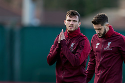 LIVERPOOL, ENGLAND - Monday, February 18, 2019: Liverpool's Andy Robertson and Adam Lallana during a training session at Melwood ahead of the UEFA Champions League Round of 16 1st Leg match between Liverpool FC and FC Bayern München. (Pic by Paul Greenwood/Propaganda)