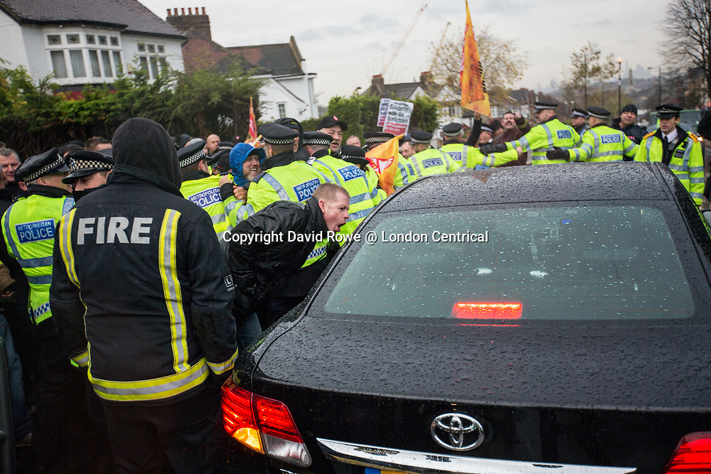 Protesters prevent the Penny Mourdant, Minister for local government, from attending the opening of the new fire station at West Norwood. The Fire Brigade Union protest at the newly opened fire station was to protest against proposed pension changes.