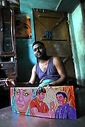 Omar has been making rickshaw paintings for more than 15 years. Now he is mainly doing the same type of rickshaw painting, representing famous national movie actors, as they are the most required by shops and workshops. Diversity and quality of rickshaw paintings seem to be slowly decreasing in the rickshaw painting industry.