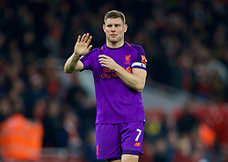 LONDON, ENGLAND - Saturday, November 3, 2018: Liverpool's captain and goal-scorer James Milner applauds the supporters after the FA Premier League match between Arsenal FC and Liverpool FC at Emirates Stadium. The game ended 1-1. (Pic by David Rawcliffe/Propaganda)