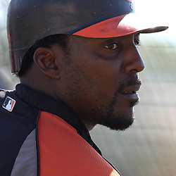 March 14, 2011; Sarasota, FL, USA; Baltimore Orioles designated hitter Vladimir Guerrero (27) before a spring training exhibition game against the Pittsburgh Pirates at Ed Smith Stadium.   Mandatory Credit: Derick E. Hingle