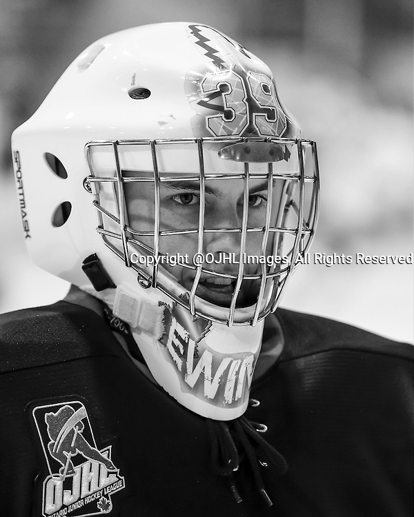 NEWMARKET, ON - Oct 8, 2015 : Ontario Junior Hockey League game action between Orangeville and Newmarket, Dalton Ewing #30 of the Newmarket Hurricanes.<br /> (Photo by Brian Watts / OJHL Images)
