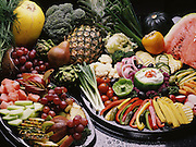 MEALS TO YOU--Fruit and veggie trays--sample platters of food items served to in-flight airline crew and clients by gourmet caterer, Allentown,PA. 11041989