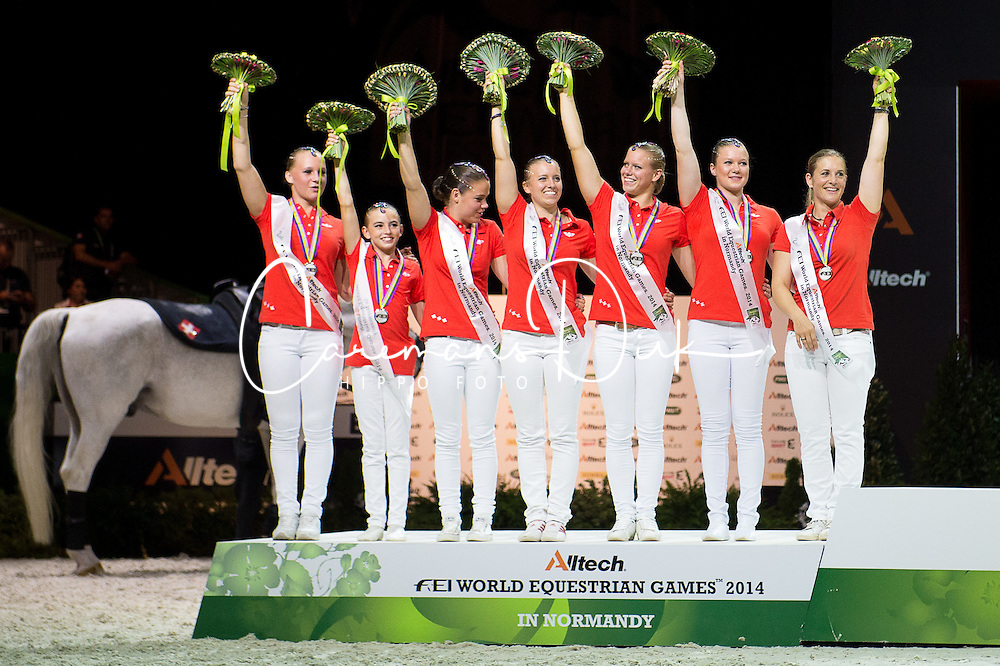 Podium(SUI) - Squad Final Vaulting - Alltech FEI World Equestrian Games&trade; 2014 - Normandy, France.<br /> &copy; Hippo Foto Team - Jon Stroud<br /> 05/09/2014