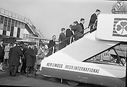 Irish Rugby Football Union,  Five Nations,Irish team leaves Dublin Airport for Cardiff, Dublin, Ireland, 11th March, 1965,.11.3.1965, 3.11.1965,
