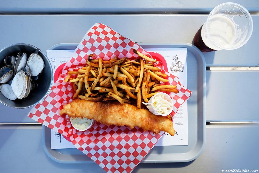Fish and chips, the local cuisine in Lunenburg, Nova Scotia, Canada.
