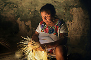 Campeche. Becàl: the village home of the famous jipi-japa Panama hat. All these hats are made in caves, something that every family has on their property.
